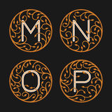 Decorative Initial Letters M, N,O, P Royalty Free Stock Images