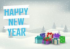 Decorative inscription of a happy new year with gifts on the bac Stock Photography