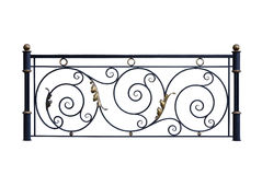 Decorative iron banisters, fence. Decorative, forged banisters, fence in old style. Isolated over white background stock images