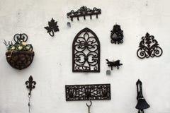 Decorative ironwork and flowerpot Royalty Free Stock Image