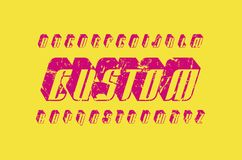 Decorative italic sans serif bulk font in racing style. Hollow letters with rough texture for logo and title design. Pink print on yellow background Stock Image