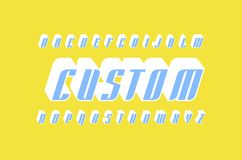 Decorative italic sans serif bulk font in racing style. Letters for logo and title design. Color print on yellow background Stock Image