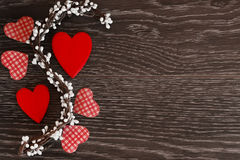 Decorative items for the celebration of Valentine`s Day on a wooden background. Postcard or background on Valentine`s Day Royalty Free Stock Photography