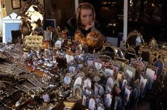 Decorative items for sale at Portobello Market, London. Royalty Free Stock Images