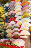Decorative japanese fans for sale in a shop in Japan. Colorful, decorative japanese fans for sale in a shop in Japan stock photos