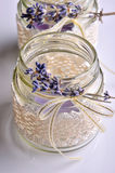 Decorative jar. Handmade decorative candle holder jar with lace and lavender Stock Photos