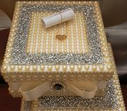 Decorative Jewellery Box with Pearls. Closed vintage white pearl jewellery box. Stock Image