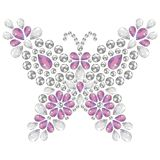Decorative jewelry brilliant butterfly pink and silver color. Decorative jewelry brilliant butterfly to be used for pattern fills, application rhinestones vector illustration