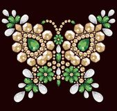 Decorative jewelry brilliant butterfly to be used for pattern fills, application rhinestones. Stock Images