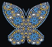 Decorative jewelry sapphire, brilliant, gold butterfly. Stock Image