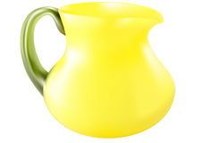 Decorative jug with yellow glass. Isolated white background Stock Photo
