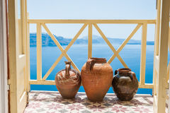 Decorative jugs on the balcony Stock Photography