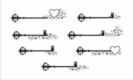 Decorative key and flower graphic pattern Stock Images