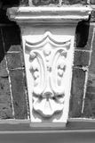 Decorative keystone. Vertical black and white photography Stock Photography