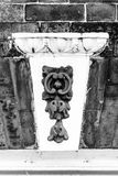 Decorative keystone A. Vertical black and white photography Royalty Free Stock Photo