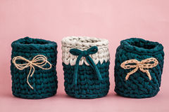 Decorative Knitted Green Baskets with Ribbons Stock Photography