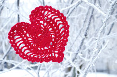Decorative knitting heart on fir-tree branch. Winter holidays concept. Love concept background. February 14. Textile red heart on. Snowy tree branch in winter Royalty Free Stock Photo