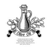 Decorative label with a bottle of oil and olives Royalty Free Stock Images