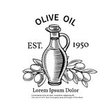 Decorative label with a bottle of oil and olives Royalty Free Stock Image