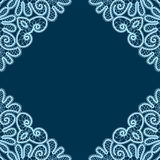 Decorative lace corners. Hand drawn corners, vector monochrome background. Vologda lace. Russian style Stock Photography