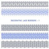 Decorative Lace Floral Seamless Borders. Royalty Free Stock Photo