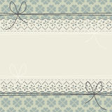 Decorative lace frame with blue flowers on green background Royalty Free Stock Image