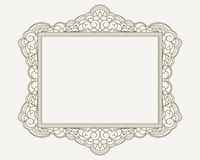 Decorative lace ornament, vintage frame with square empty place Stock Photos