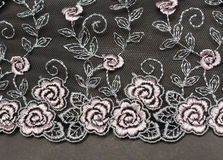Decorative lace with pattern. On gray background Stock Photos