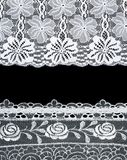 Decorative lace with pattern on black background Royalty Free Stock Photography