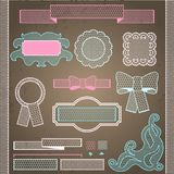 Decorative lace ribbon, bows and ornaments Stock Photos