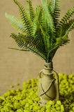 Decorative lamp with ferns and green stone top view. Royalty Free Stock Images