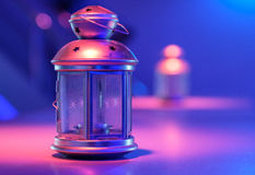 Decorative lamp. On the table under the blue light Stock Images