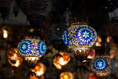 Decorative lamps. With glass mosaics crafted in Turkey with turkish design Stock Images