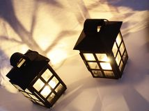 Decorative lamps. With burning candles inside Royalty Free Stock Photography
