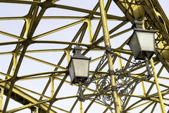 Decorative lamps hanging from bridge Stock Photo