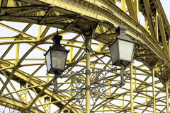 Decorative lamps hanging from bridge Stock Photography