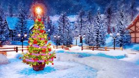 Christmas tree at snowy winter night in watercolor. Decorative landscape in watercolor with Christmas tree decorated by lights garland against snow covered stock image