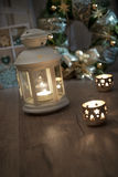 Decorative lantern, candles and Christmas decorations Stock Photography