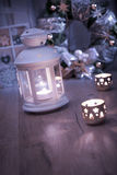 Decorative lantern, candles and Christmas decorations Royalty Free Stock Photos