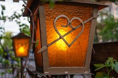 Decorative lantern for gazebos and terraces wrought iron stock photos