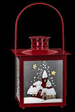 Decorative lantern in the style of the Christmas holidays. Isolated on black background Royalty Free Stock Photos