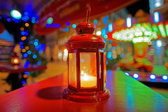 Decorative lantern with votive candle at the european Christmas Royalty Free Stock Photography