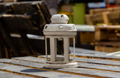 Decorative lantern. On wooden table with copy space Royalty Free Stock Photo