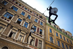 Decorative lapm street in Riga, Latvia stock photos