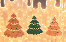 Decorative layout of christmas trees with lights. Decorative layout of christmas trees with lights Royalty Free Stock Images