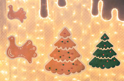 Decorative layout of christmas trees with lights. Decorative layout of christmas trees with lights Royalty Free Stock Image