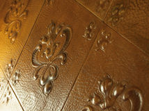 Decorative leather. Close-up of decorative leather embossed with floral motifs Royalty Free Stock Image