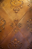 Decorative leather. Close-up of decorative leather embossed with floral motifs Stock Image