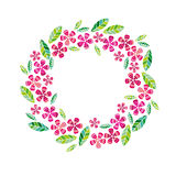 Decorative leave and flower wreath design element. Royalty Free Stock Photo