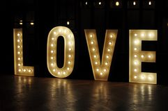 Decorative letter lights love stock photos